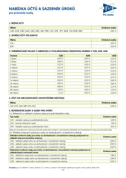 Sazebník úročení aktuálně nabízených účtů - právnické