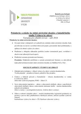 Požadavky a otázky ke státní závěrečné zkoušce z bakalářského