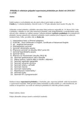 Přihláška k volitelným předmětům 2016/2017
