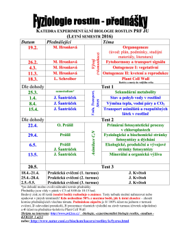 Katedry fyziologie a anatomie rostlin BF JU