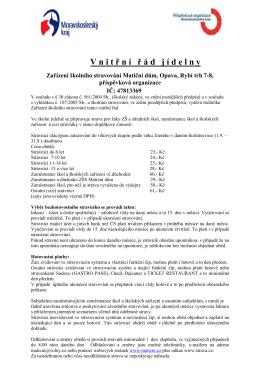 Vnitřní řád jídelny od 1.3.2016 - Zařízení školního stravování Matiční