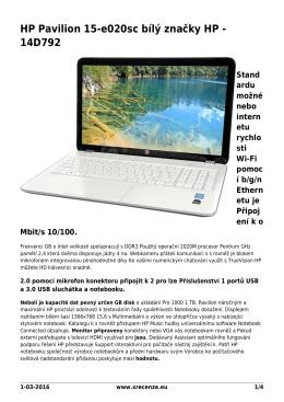 HP Pavilion 15-e020sc bílý značky HP - 14D792