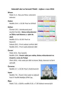 Kalendář akcí ve farnosti Třebíč – Jejkov v roce 2016 Březen