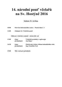 14. národní pouť včelařů na Sv. Hostýně 2016 Sobota 21. května