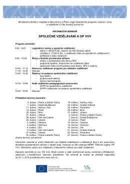 Informační seminář Společné vzdělávání a OP VVV