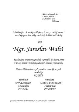 Mgr. Jaroslav Mališ