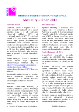 Aktuality – únor 2016