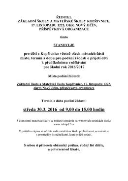 Informační leták - ZŠ 17. listopadu Kopřivnice