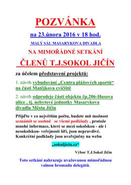 Pozvánka na schůzi 23.2.16