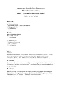 Informace k tělesné výchově (Učitelství 1. stupně základních škol