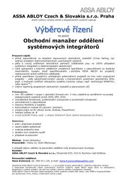 Obchodní manažer oddělení systémových integrátorů