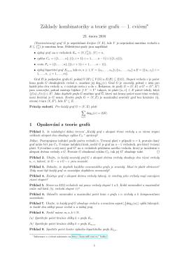 Základy kombinatoriky a teorie graf˚u — 1. cvicen´ı