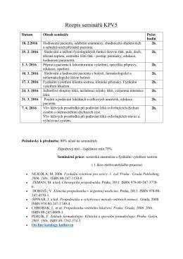 Rozpis seminářů KPV5