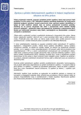 Zpráva o plnění Aktivizačních opatření k řešení nepříznivé situace
