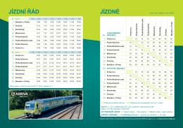 Jízdní řád a ceník vlaků Benešov