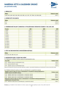 Sazebník úročení účtů (včetně již nenabízených