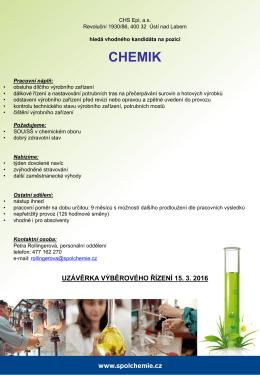 Chemik (provoz Epichlorhydrin)