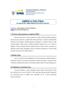 umění a politika - Katedra politologie a evropských studií