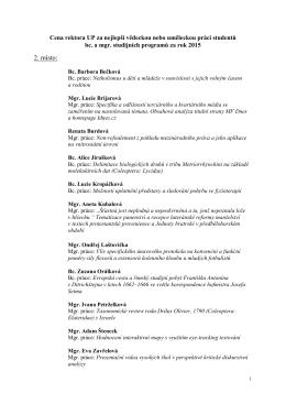 Ceny rektora - seznam oceněných studentů