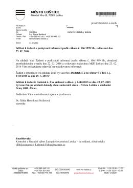 sdělení k uzavření Dodatku č. 2 ke smlouvě o dílo č. j