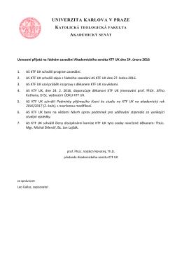 Usnesení přijatá na řádném zasedání AS KTF UK dne 24. února 2016