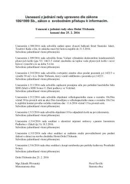 Usnesení z jednání rady obce Dolní Třebonín konané dne 25. 2. 2016
