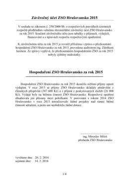 Závěrečný účet ZSO Hrušovansko 2015