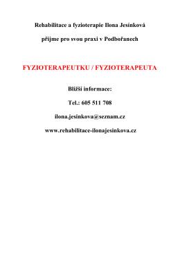 Nabídka zaměstnání na pozici fyzioterapeuta