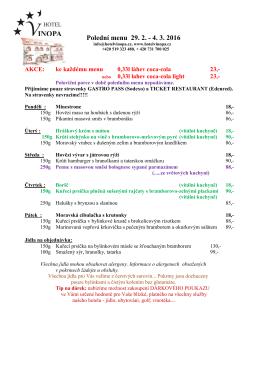 Polední menu 29.2.