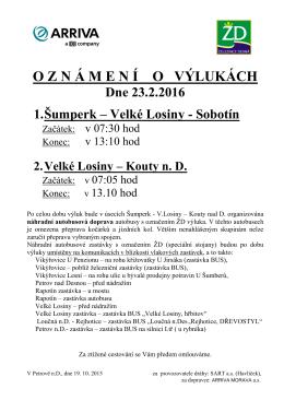 Výluka v provozu Železnice Desná dne 23.2.2016