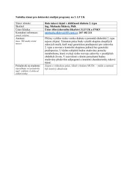 Nabídka témat pro doktorské studijní programy na 3. LF UK Název