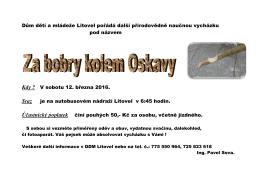 Za bobry kolem Oskavy - Dům dětí a mládeže Litovel