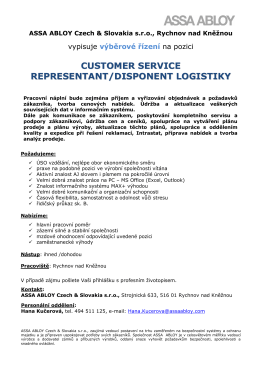 customer service representant/disponent logistiky