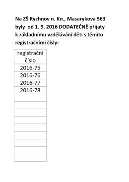 Žáci dodatečně přijatí do 1. ročníku od 1. 9. 2016