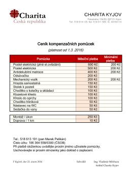 Ceník kompenzačních pomůcek