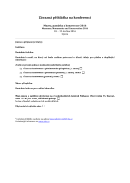 Závazná přihláška na konferenci MPK 2016