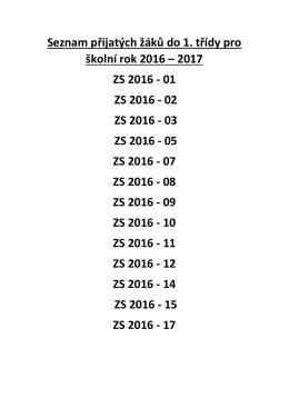 Seznam přijatých žáků do 1. třídy pro školní rok 2016 – 2017 ZS