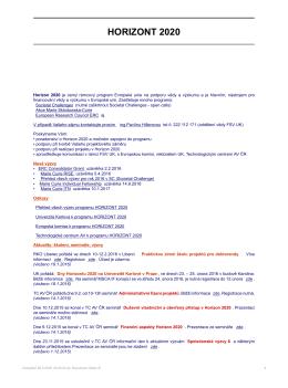 horizont 2020 - Univerzita Karlova