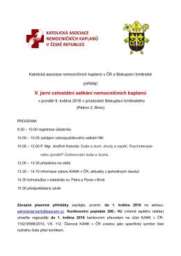 Informace, pozvání - Katolická asociace nemocničních kaplanů