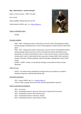 Mgr. Lukáš Komárek – profesní životopis Datum a místo narození