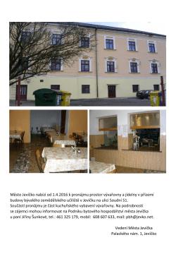 Město Jevíčko nabízí od 1.4.2016 k pronájmu prostor vývařovny a
