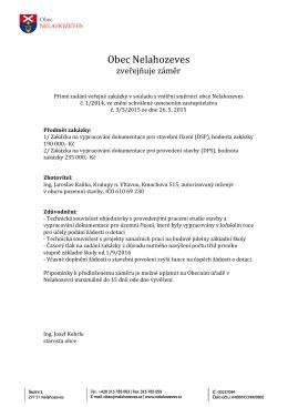 Záměr zadání zakázky ve formátu pdf ke stažení
