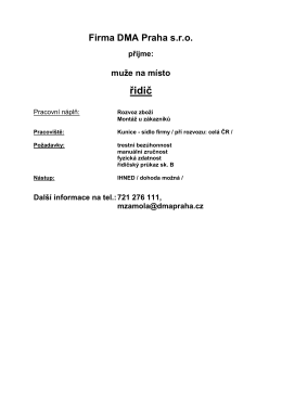 volná pracovní pozice řidič ve firmě DMA