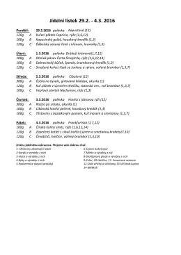 Jídelní lístek 29.2. - 4.3. 2016