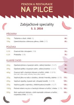 Zde je menu - Penzion & Restaurace Na Pilce