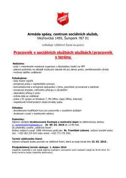 Pracovník v sociálních službách službách/pracovník