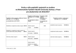 Druhy a výše poplatků spojených se studiem na Matematicko