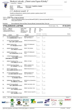Skokové závody ,,Zimní cena Equus Kinsky`` č.3. skoková