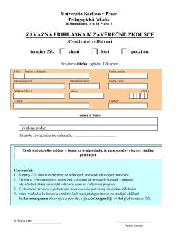 závazná přihláška k závěrečné zkoušce