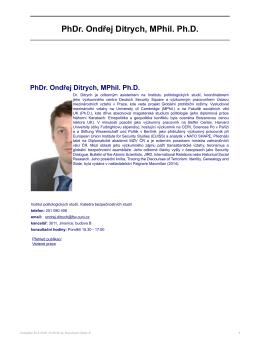 PhDr. Ondřej Ditrych, MPhil. Ph.D. - Institut politologických studií